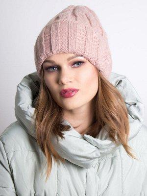 Шапка женская, крупная вязка колосок с отворотом, бледно-розоватый