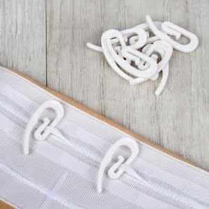Крючок для штор «Улитка». 31 ? 12 ? 2 мм. 10 шт. цвет белый