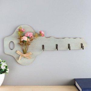 """Крючки декоративные дерево """"Ключик с букетом цветов"""" 16,5х34х2,5 см"""
