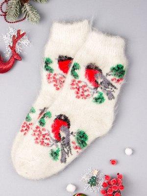 Носки вязаные детские пуховые, снегири, молочный (козий пух)