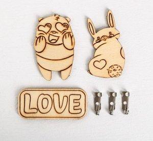 Деревянные брошки Love, набор для создания, 8 *8*1.5 см
