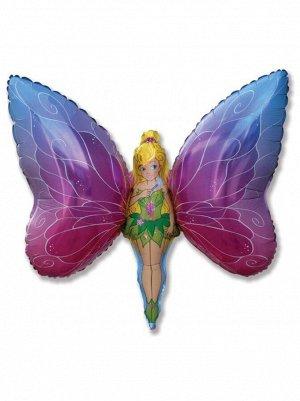 """Фольга шар Девочка-бабочка 14""""/35 см 1шт Испания"""
