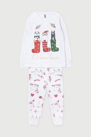 Пижама для девочки Crockid К 1532 светло-серый меланж, новогодние собачки