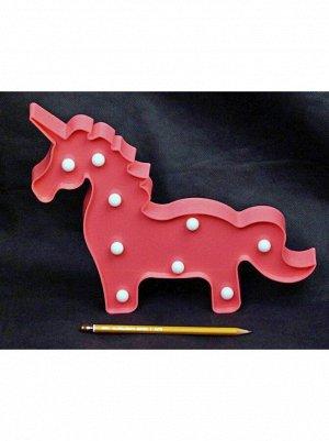Фигура световая Единорог 30 х 24 см цвет розовый пластик