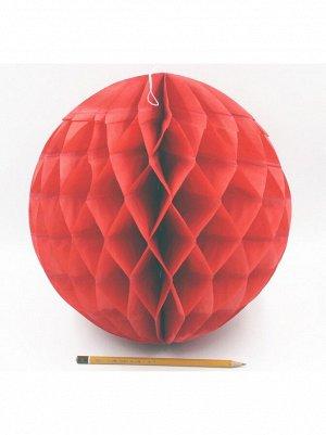 Подвеска объемная бумажная Шар соты 30 см цвет красный HS-21-18