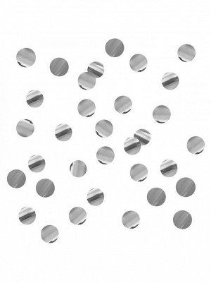 Конфетти 500 гр 1 см Круги серебряные фольгированные