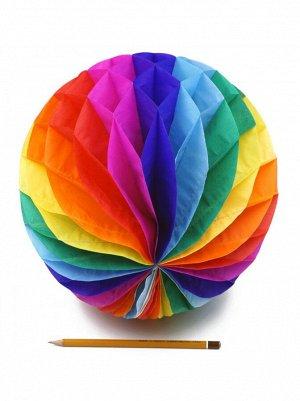 Подвеска объемная бумажная Шар соты 30 см цвет радуга HS-21-18