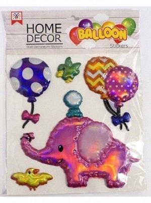 Наклейка объемная Слон пластик упаковка 305 х 315 мм