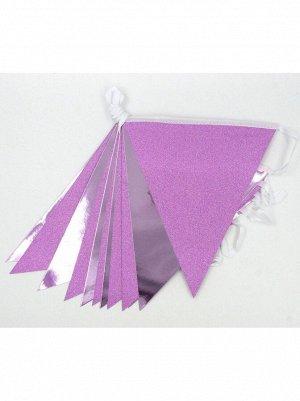 Гирлянда вымпел 300 см бумага цвет розовый HS-21-2