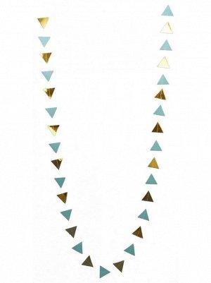 Гирлянда Флажки 250 см бумага металл цвет голубой с золотом