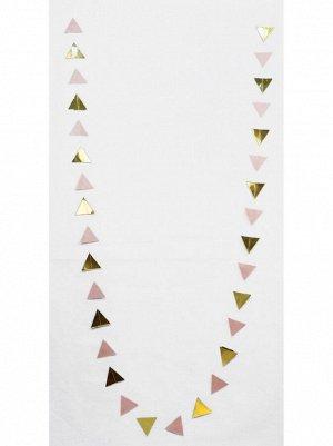 Гирлянда Флажки 250 см бумага металл цвет розовый с золотом