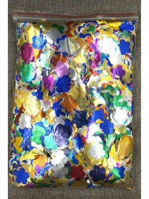 Конфетти Цветок 3 см фольга 1000 гр цвет МИКС