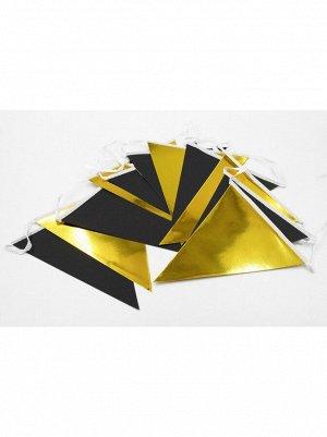 Гирлянда вымпел 300 см бумага цвет черный/золото HS-21-2