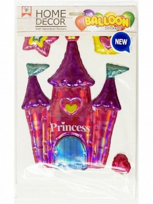 Наклейка объемная Замок принцессы пластик упаковка 150 х 210 мм