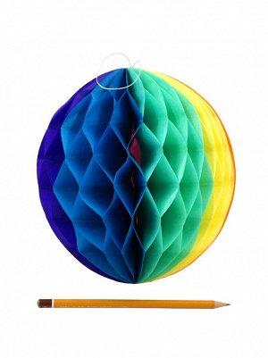 Подвеска объемная бумажная Шар соты 20 см цвет радуга
