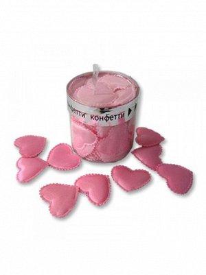 Конфетти Сердца ЗD ткань 3см 35шт  цв Розовый