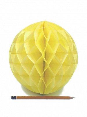 Подвеска объемная бумажная Шар соты 20 см цвет желтый