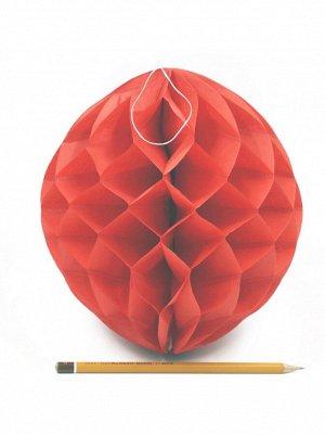 Подвеска объемная бумажная Шар соты 20 см цвет красный