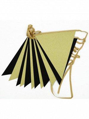 Гирлянда вымпел блеск 300 см бумага цвет золото