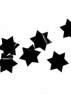 Конфетти 30 гр 3 см Звезды черные фольгированные