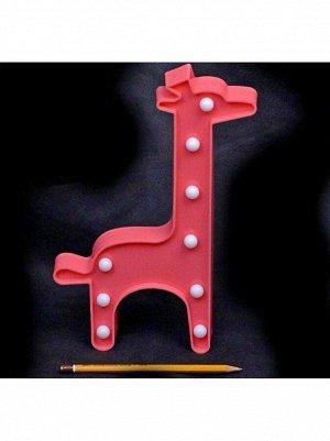 Фигура световая Жираф 18 х 30 см цвет розовый пластик