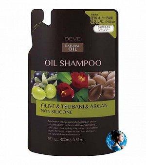 Шампунь для сухих волос с 3 маслами (оливковое, камелии и масло арганы) Deve 400 мл запасной блок