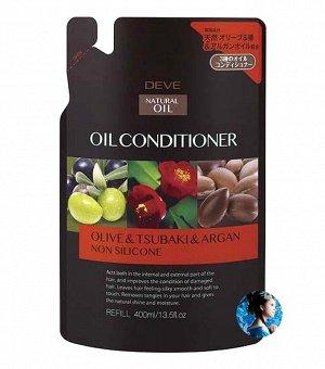 Кондиционер для сухих волос с 3 маслами (оливковое, камелии и масло арганы) Deve 400 мл запасной блок