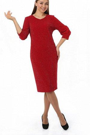 Платье Состав: Полиэстер 93%, Эластан 7%;  Сезон: Осень;  Цвет: Красный;    Вечерние платье полуприлегающего силуэта — воплощение современной элегантности.  Втачные рукава платья и рельефный шов от б