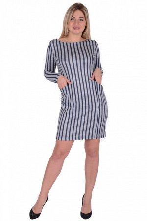 """Платье Платье прямого силуэта с длинным рукавом. Вырез """"лодочка"""". Карманы объемные. 46 р-р: длина по спинке - 90 см, длина рукава - 57 см, ПОг - 46 см, ПОт - 43 см, ПОб - 51 см. 48 р-р: длина по спинк"""