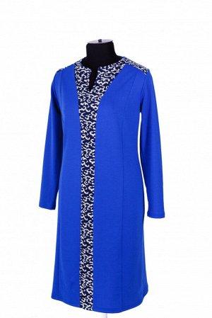 Платье Платье полуприлегающего силуэта. с вертикальной узорной вставкой. Рукав длинный. 50 размер: спинка - 106 см, длина рукава - 61 см, ПОг - 52 см, ПОт - 51 см, ПОб - 56 см. 52 размер: спинка - 107