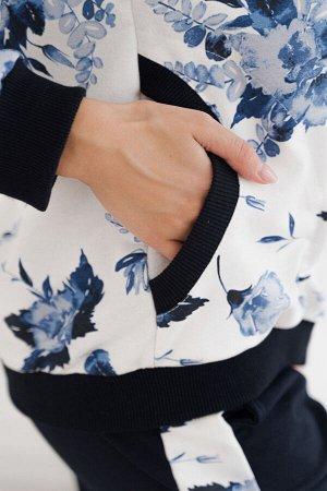 Брюки Комплектация: Бомбер, брюки Цвет: Синий, цветы  Лимитированная осенняя коллекция женских костюмов К 082 (Синие цветы) с эксклюзивным цветочным принтом. В комплект входит удобнейший бомбер из наб