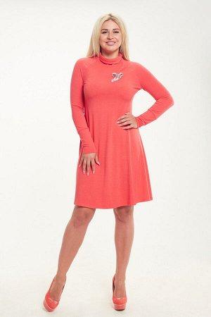 Платье Ткань: зимняя вискоза Цвет: Коралловый  Платье силуэта трапеция, с длинным рукавом. Брошь в комплект не входит.  44 размер: спинка - 97 см, длина рукава - 68 см от горловины, ПОг - 46 см, ПОт -