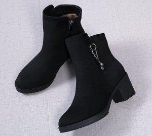Осенне-зимние ботинки на флисе, черный