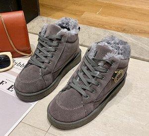 Зимние ботинки на иск. мехе,серый