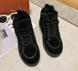 Зимние ботинки на иск. мехе,черный