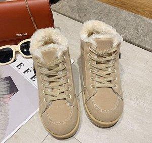 Зимние ботинки на иск. мехе,бежевый