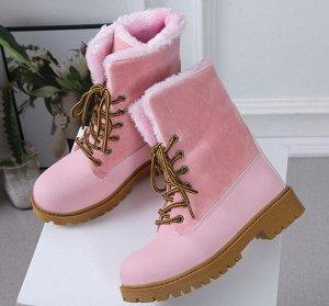 Зимние ботинки на иск. мехе,розовый
