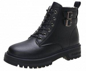 Зимние ботинки на иск. мехе, черный