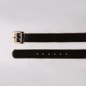Ремень женский, гладкий, ширина - 5 см, пряжка золото, цвет чёрный
