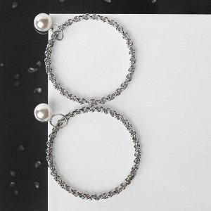 """Серьги с жемчугом """"Цепи"""" звенья в кольце, цвет белый в серебре"""