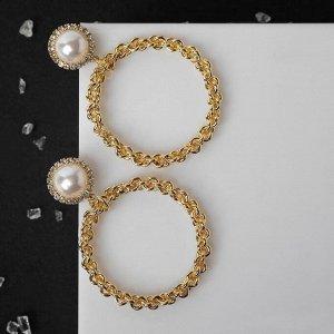 """Серьги с жемчугом """"Цепи"""" звенья крупные в кольце, цвет белый в золоте"""