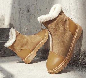 Зимние ботинки на иск. мехе, коричневый