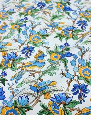 """Интерьерный хлопок """"Экзотика"""" цв.бледно-голубой, ш.1.5м, хлопок-100%, 240гр/м.кв"""