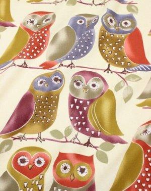 """Интерьерный хлопок """"Сувенирные совы"""", ш.1.5м, хлопок-100%, 250гр/м.кв"""