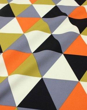 """Интерьерный хлопок """"Разноцветные треугольники"""" цв.оранжевый/черный, ш.1.5м, хлопок-100%, 240гр/м.кв"""