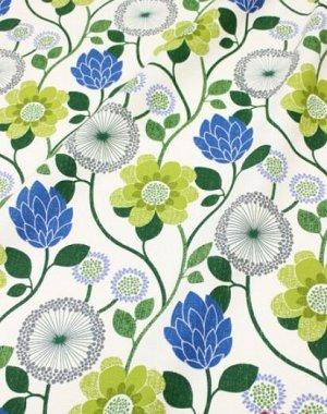 """Интерьерный хлопок """"Марьин сад"""" цв.оливковый/синий, ш.1.5м, хлопок-100%, 250гр/м.кв"""