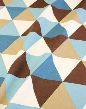 """Интерьерный хлопок """"Разноцветные треугольники"""" цв.морская волна/коричневый, ш.1.5м, хлопок-100%"""