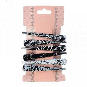 BERIOTTI Набор заколок-зажимов для волос 6шт, металл, 7,5см, черно-белые