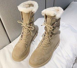 Зимние ботинки на иск. мехе, бежевый