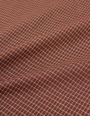 """Пестрядь """"Средняя двухцветная клетка на коричневом"""", шир.1.48м, хлопок-100%, 130гр/м.кв"""